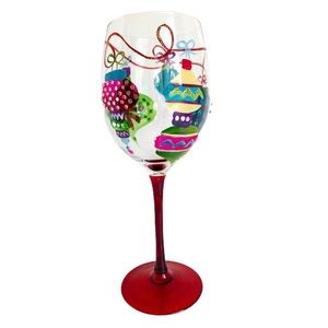 Hand Painted Christmas Ornaments Wine Glass